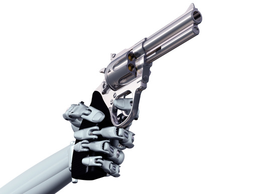 Illustration of a robot pointing a deadly handgun